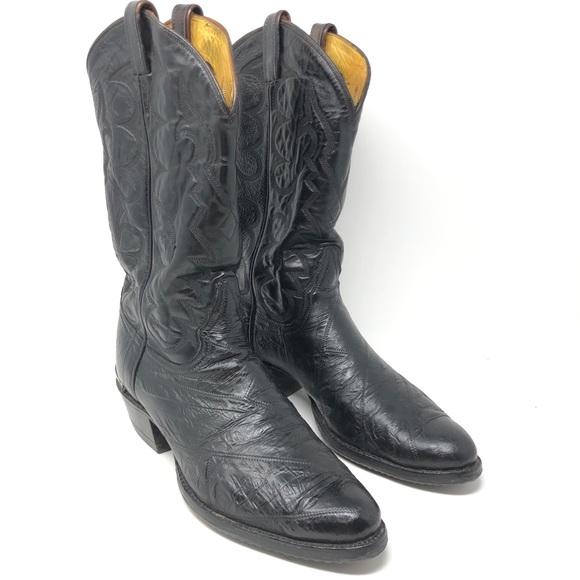 b6eee5f89e0 Tony Lama Vintage 0005 Black Eel Skin Boots